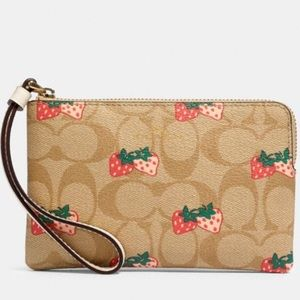 Coach Signature Strawberry Corner Zip Wristlet.